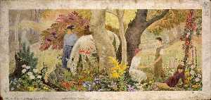 Frances Foy - Wisconsin Wild Flowers Spring (mural study, West Allis Post Office, Milwaukee, Wisconsin)