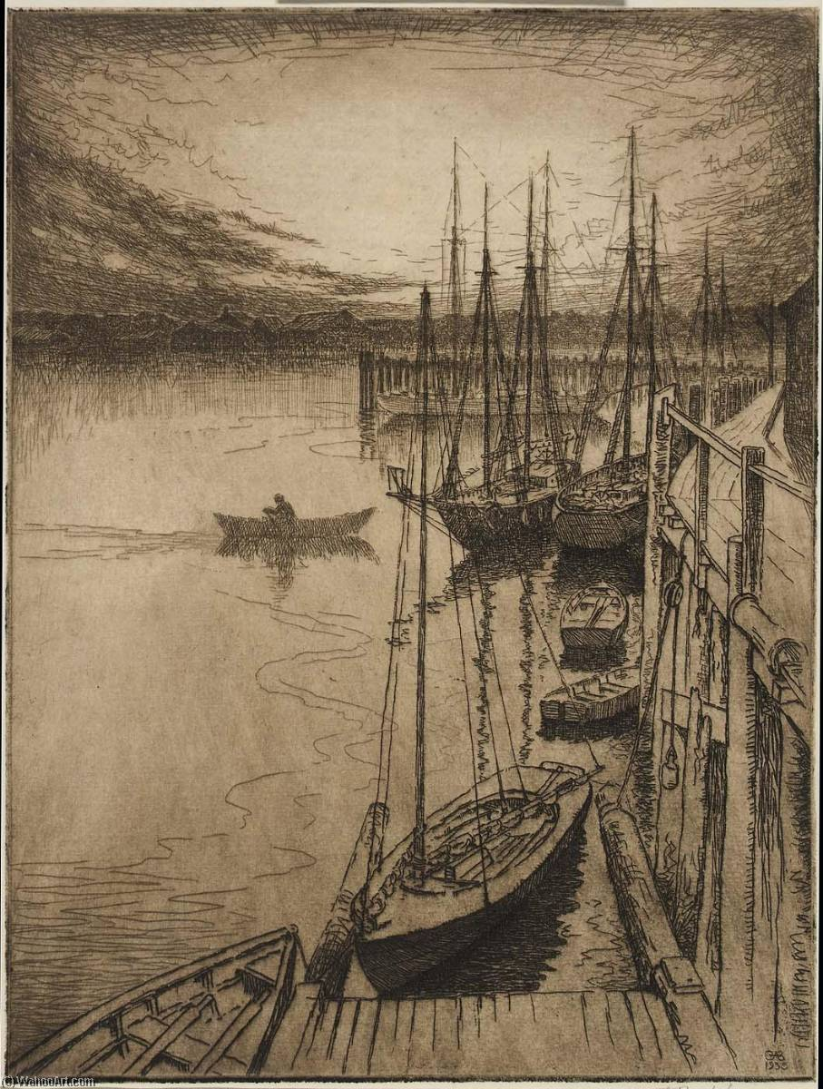 Low Tide at Dawn, Etching by George A Bradshaw