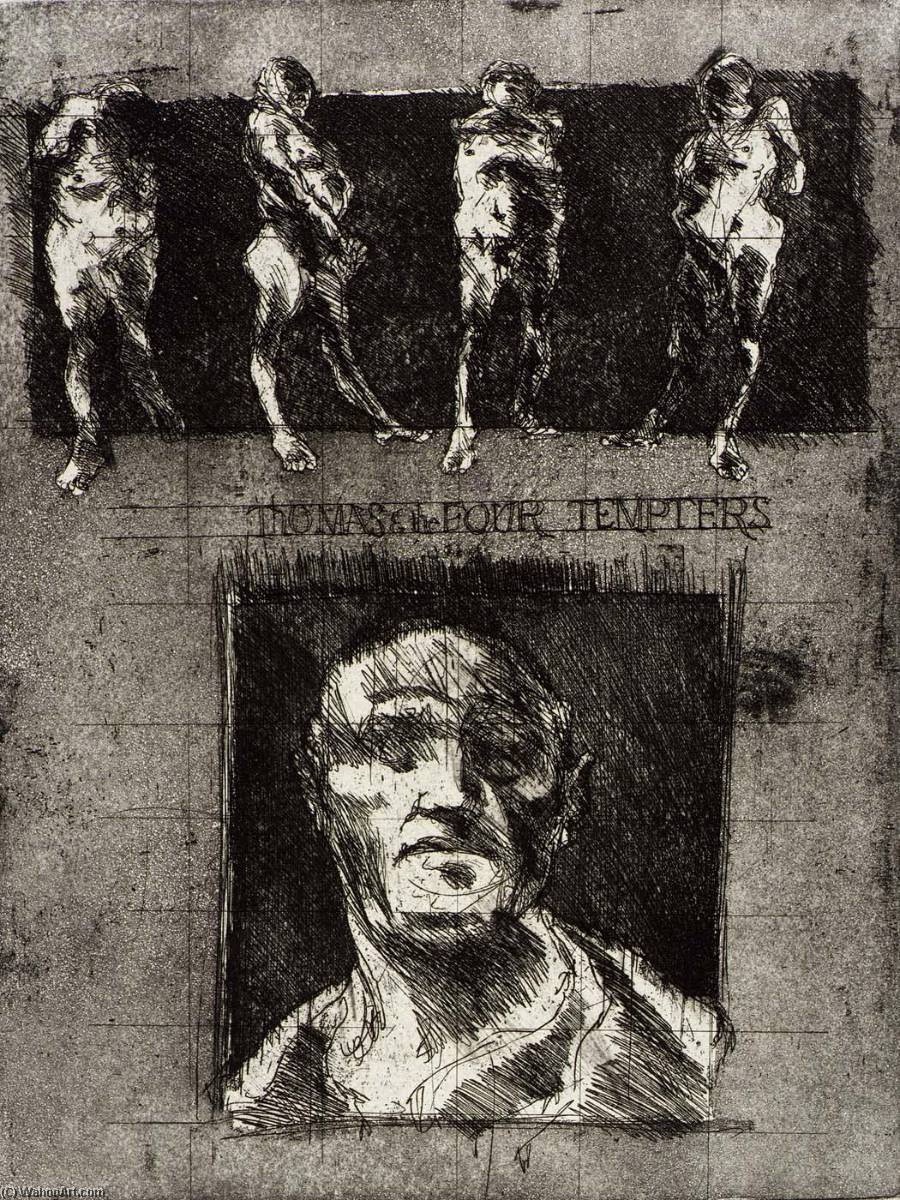 Thomas and the Four Tempters III, from the portfolio Murder in the Cathedral, 1966 by Frank Rampolla | Painting Copy | WahooArt.com