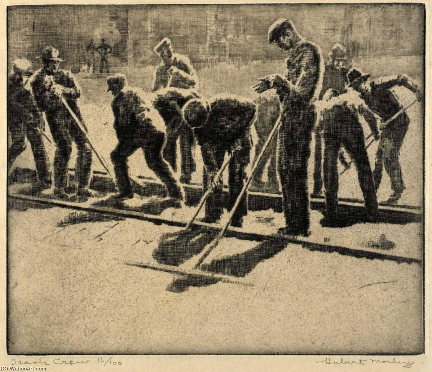 Track Crew, Etching by Hubert Morley