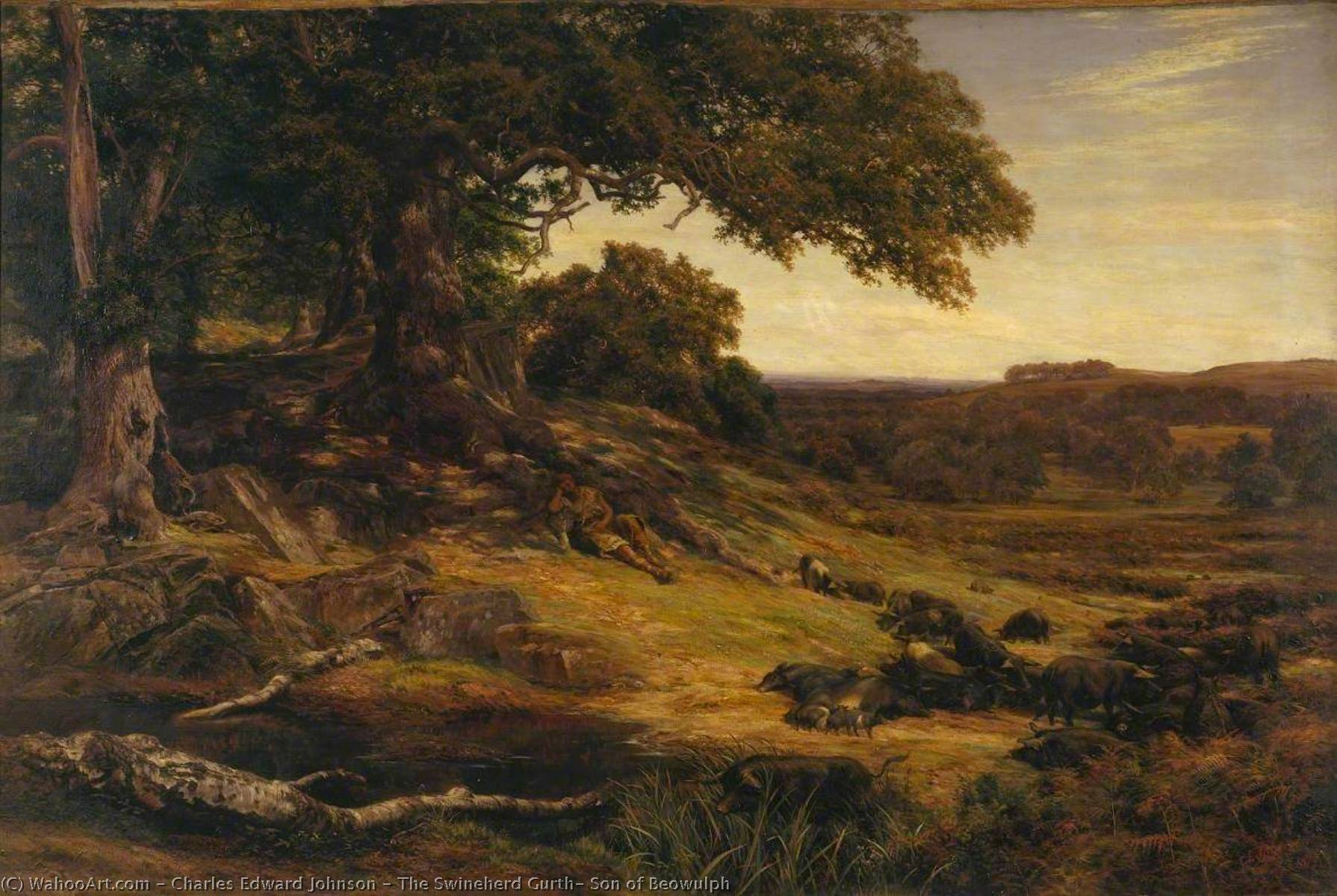 The Swineherd Gurth, Son of Beowulph, 1879 by Charles Edward Johnson | Oil Painting | WahooArt.com