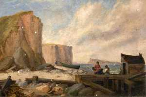 Edward Francis Drew Pritchard - East Cliff, with Portland, Dorset, in the Distance