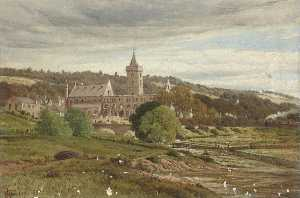 James M Robert Greenlees - Roofless Cathedral from the North West with a Steam Train
