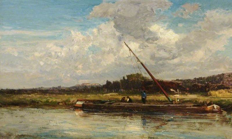 River Scene with Barges, 1868 by Emile Charles Lambinet | Museum Quality Reproductions | WahooArt.com