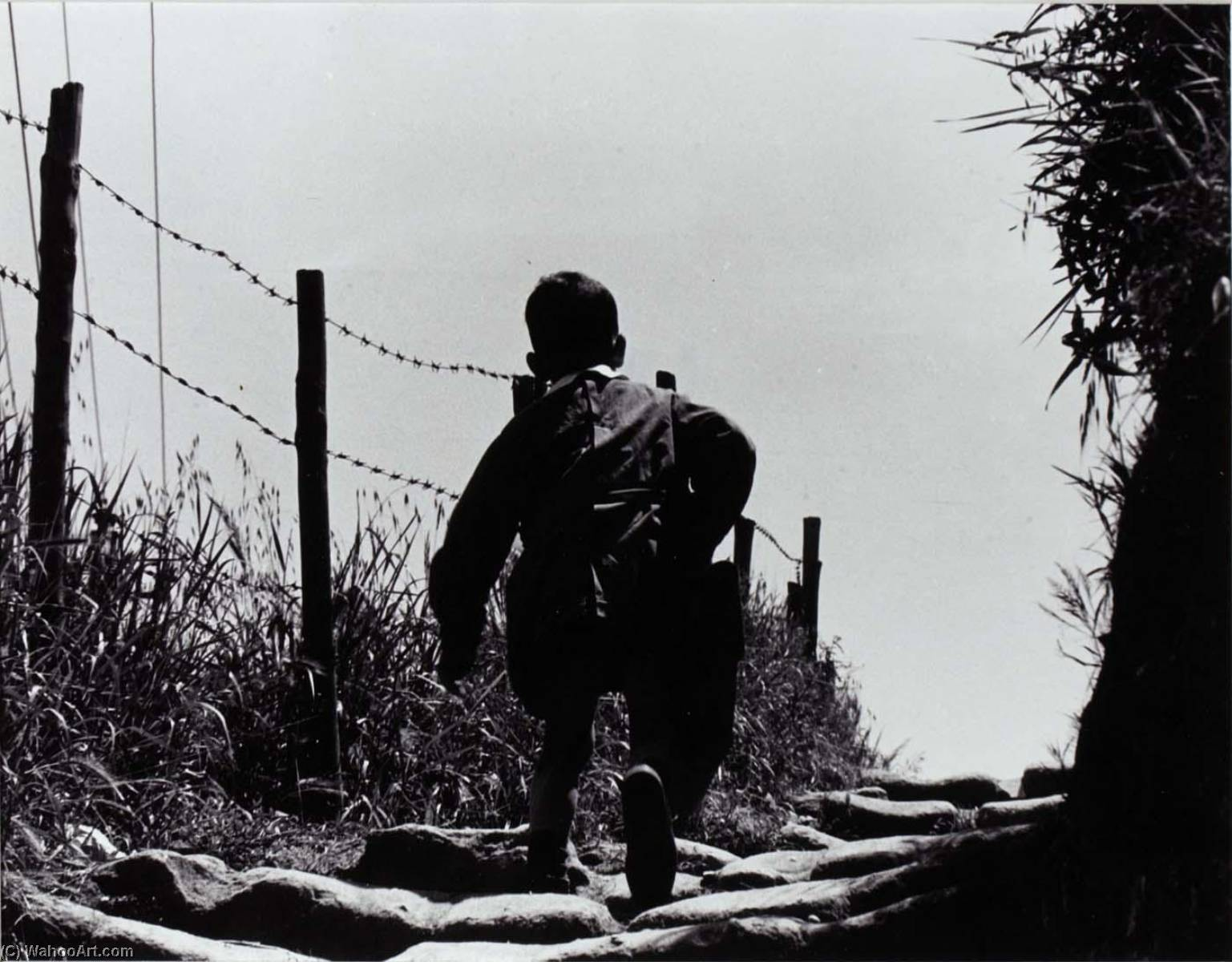 Rome (Back of Boy Walking beside Barbed Wire Fence), Print by Jeffrey Blankfort
