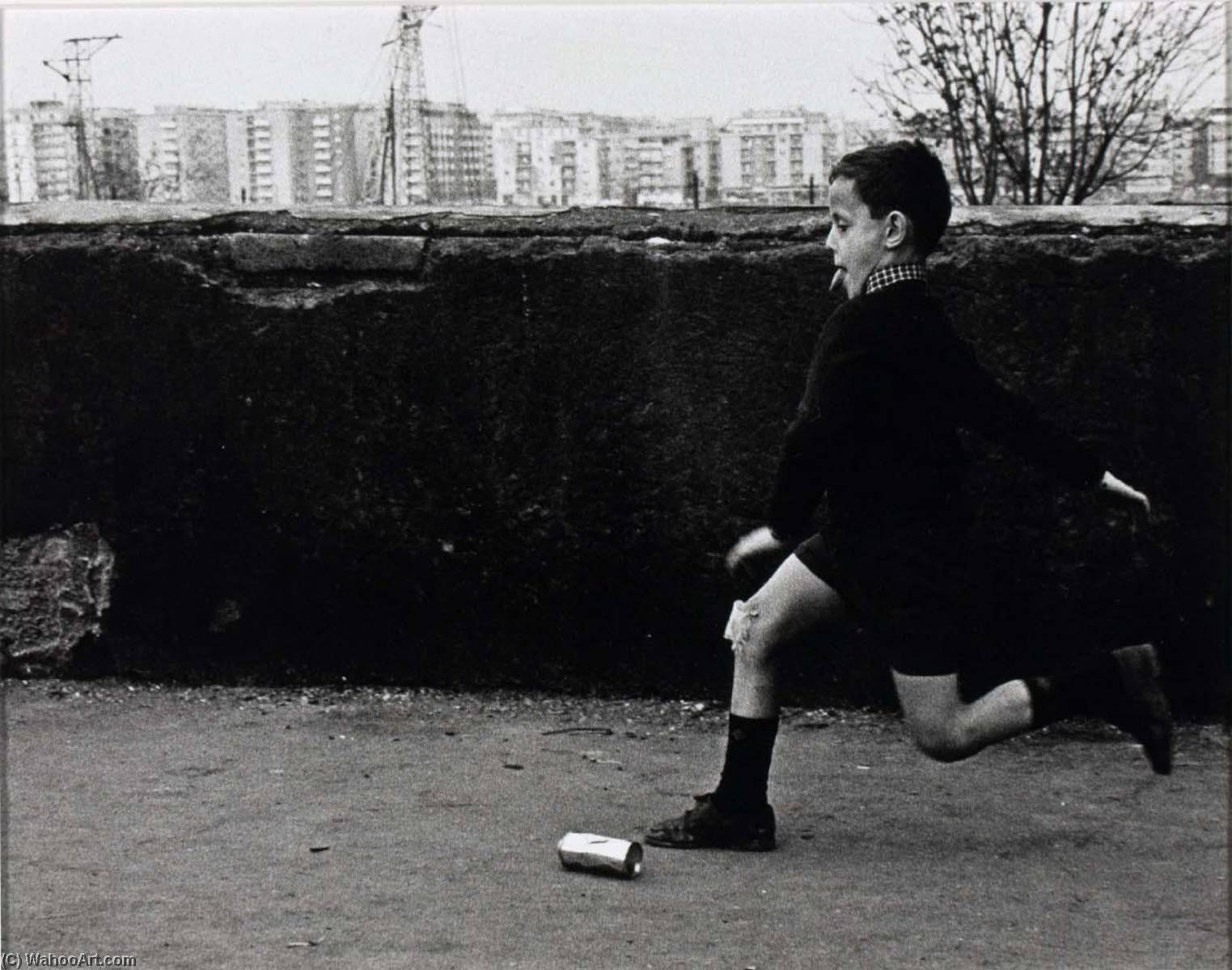 Rome (running boy kicking can), Print by Jeffrey Blankfort