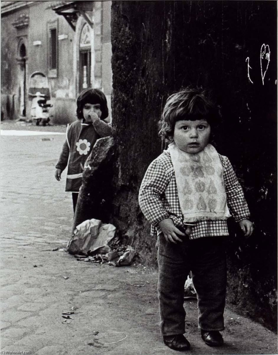 Rome (Two Children Front Child with Towel around Neck), Print by Jeffrey Blankfort