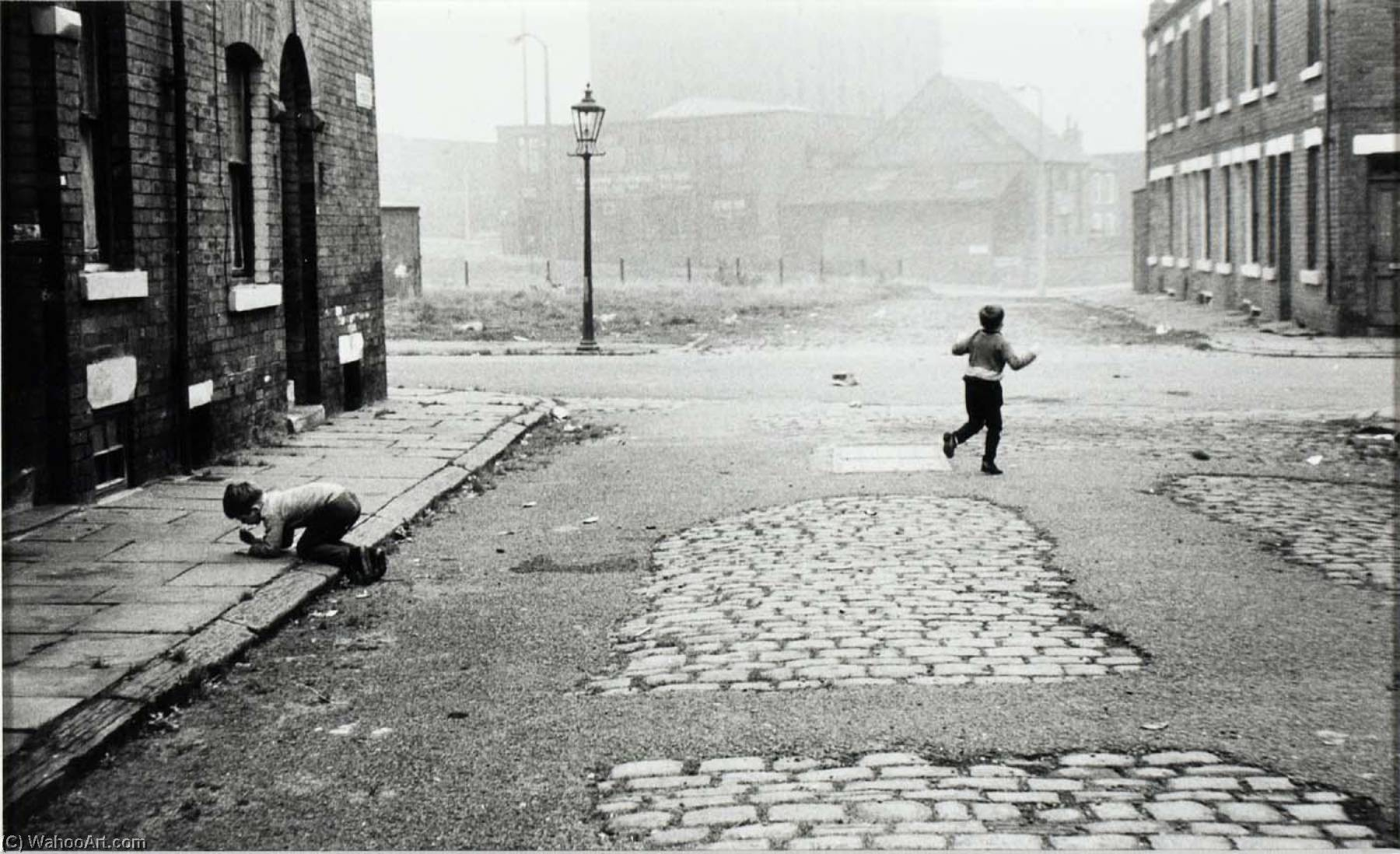 Leeds, England (two boys playing in street), 1971 by Jeffrey Blankfort | Famous Paintings Reproductions | WahooArt.com