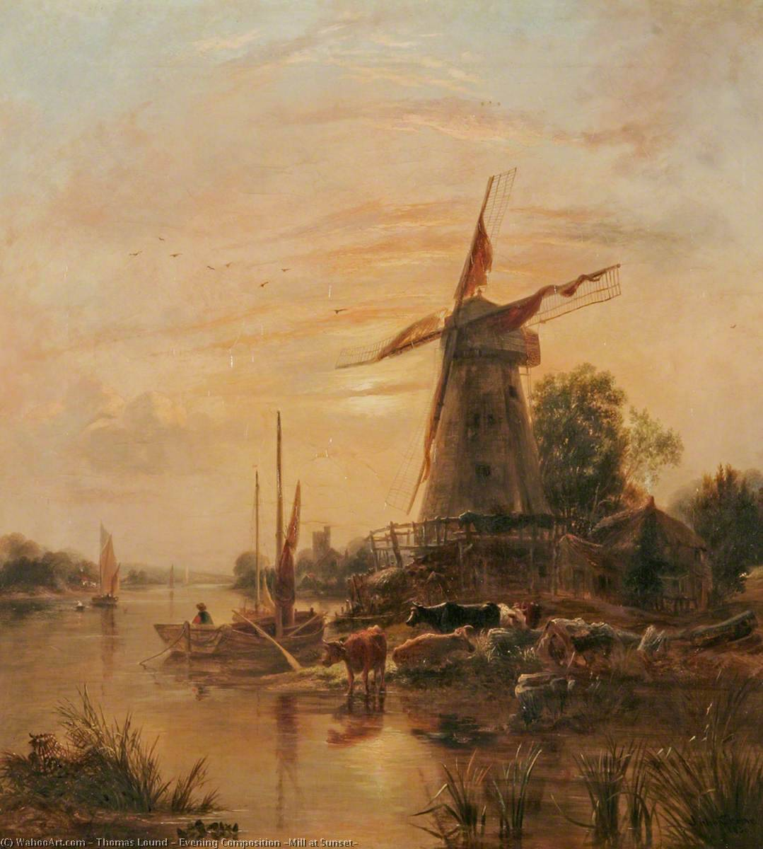 Evening Composition (Mill at Sunset), Oil On Canvas by Thomas Lound