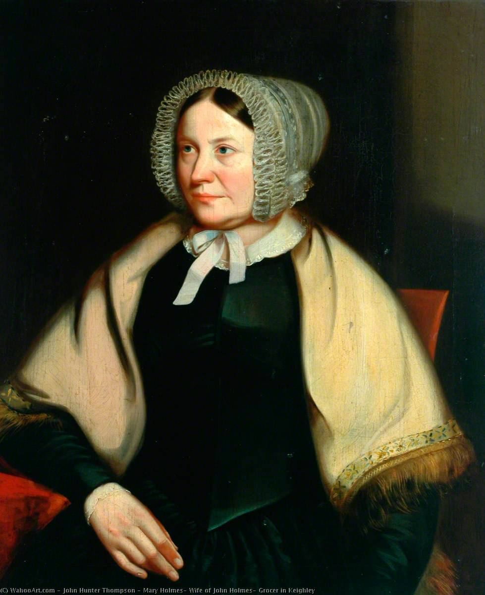 Order Museum Quality Copies | Mary Holmes, Wife of John Holmes, Grocer in Keighley by John Hunter Thompson | WahooArt.com