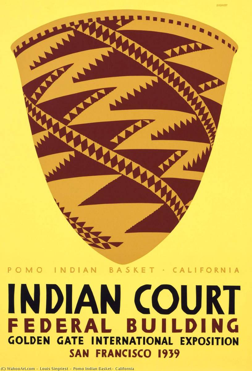 Pomo Indian Basket, California, Screenprint by Louis Siegriest