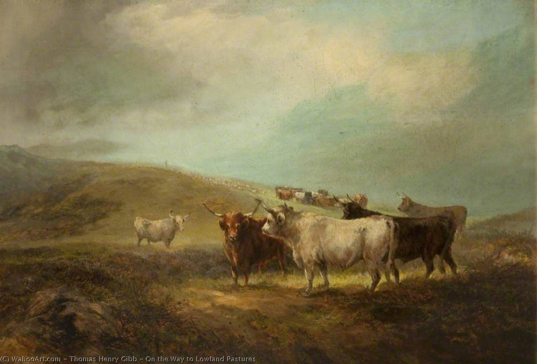On the Way to Lowland Pastures, 1870 by Thomas Henry Gibb | Painting Copy | WahooArt.com