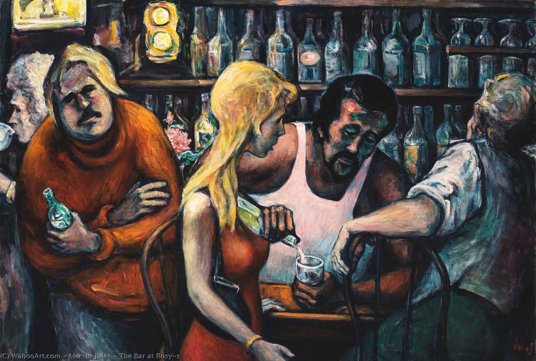 The Bar at Rosy`s, 1977 by Mervin Jules | Famous Paintings Reproductions | WahooArt.com