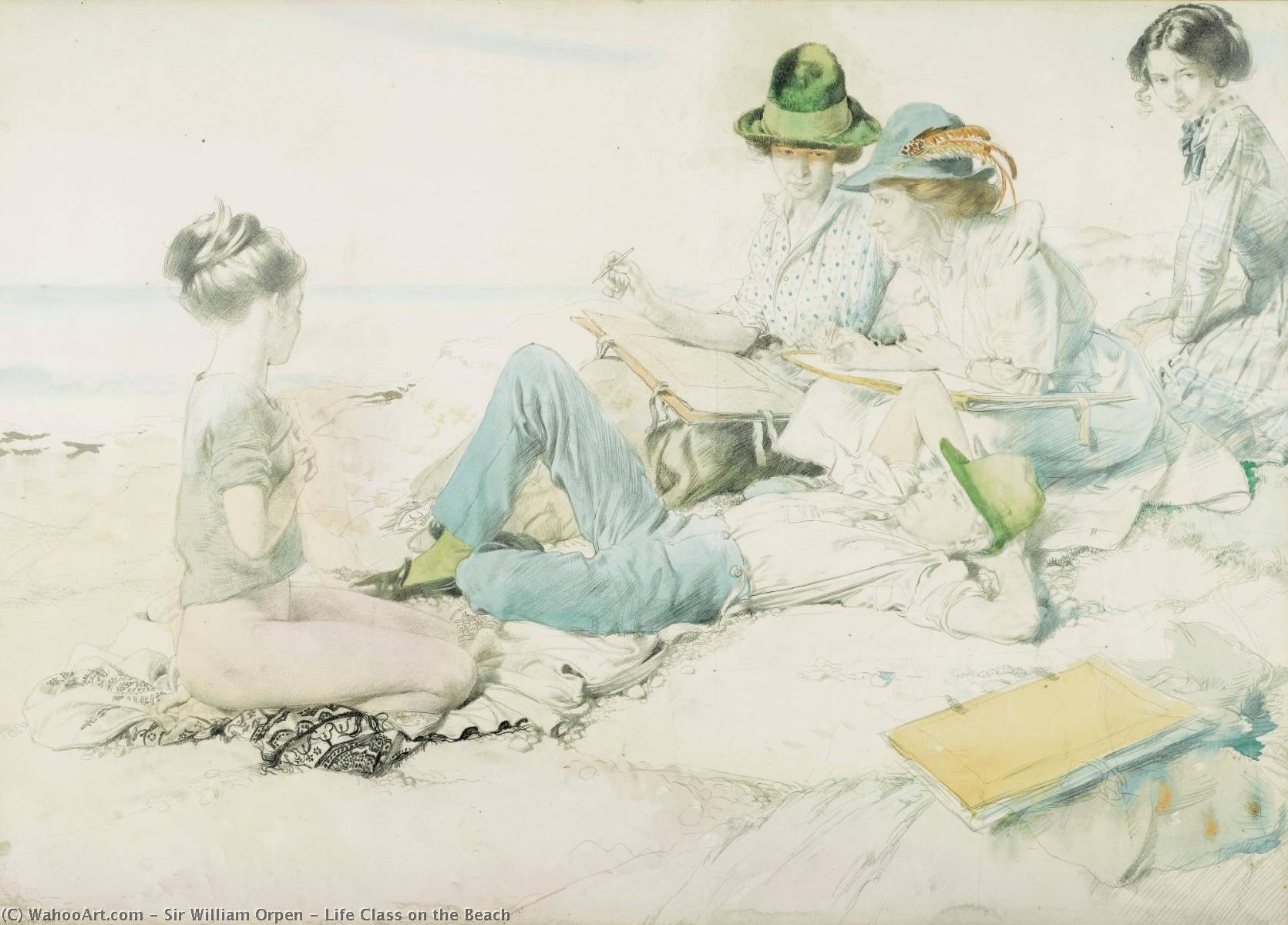 Life Class on the Beach, Watercolour by William Newenham Montague Orpen (1878-1931, Ireland)