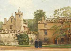 Pierre François Joseph Tonneau - The Grammar Hall from St John's Quadrangle in 1881 President Bulley in the Lodgings Drive and Two Others