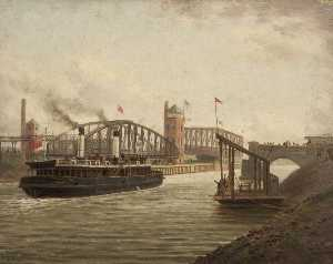 Albert Dunington - 'The Snowdrop' with the Directors of the Manchester Ship Canal Passing Barton Bridges, 7 December 1893