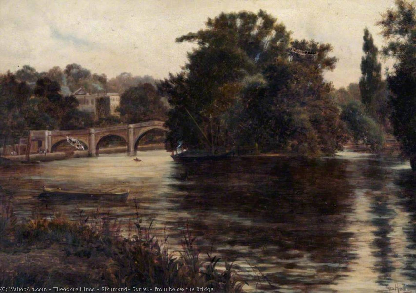 Richmond, Surrey, from below the Bridge by Theodore Hines | Painting Copy | WahooArt.com