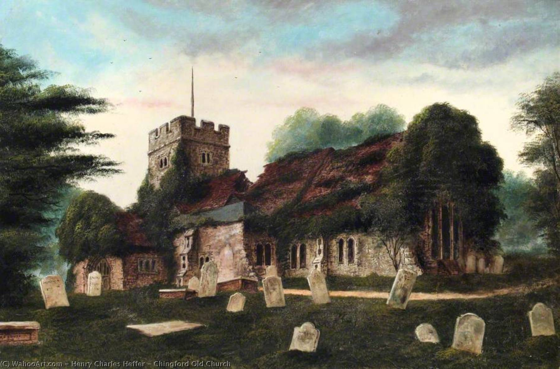 Buy Museum Art Reproductions | Chingford Old Church, 1903 by Henry Charles Heffer | WahooArt.com