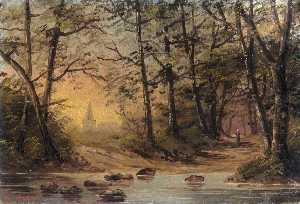 Order Paintings Reproductions | Stepping Stones Landscape by Henry Charles Heffer | WahooArt.com