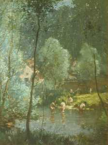 Frank Mura - Bathers in a River