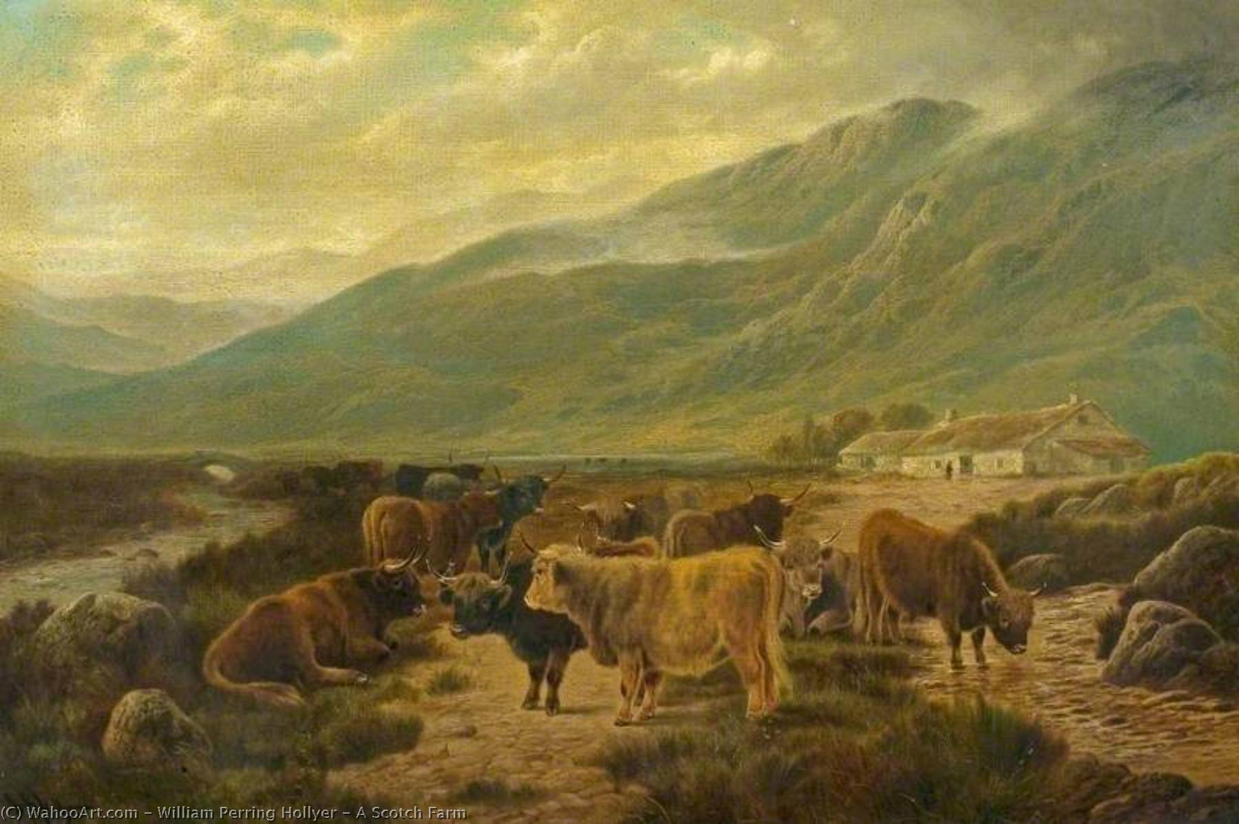A Scotch Farm by William Perring Hollyer | Famous Paintings Reproductions | WahooArt.com