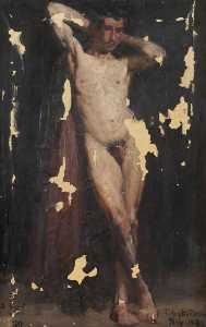 Thomas Austen Brown - Male Nude with Hands Clasped behind Head