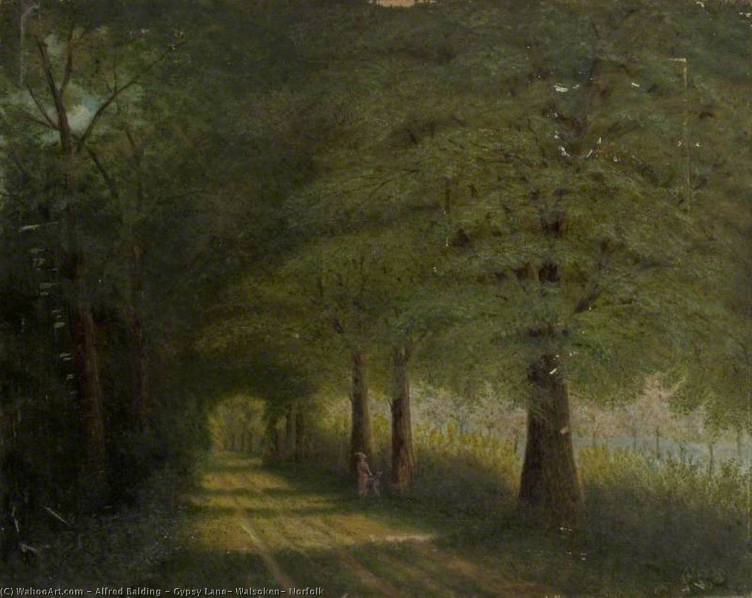Gypsy Lane, Walsoken, Norfolk, 1913 by Alfred Balding | Art Reproduction | WahooArt.com