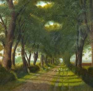 Order Reproductions | Avenue of Trees with Sheep on the Road, 1908 by Alfred Balding | WahooArt.com