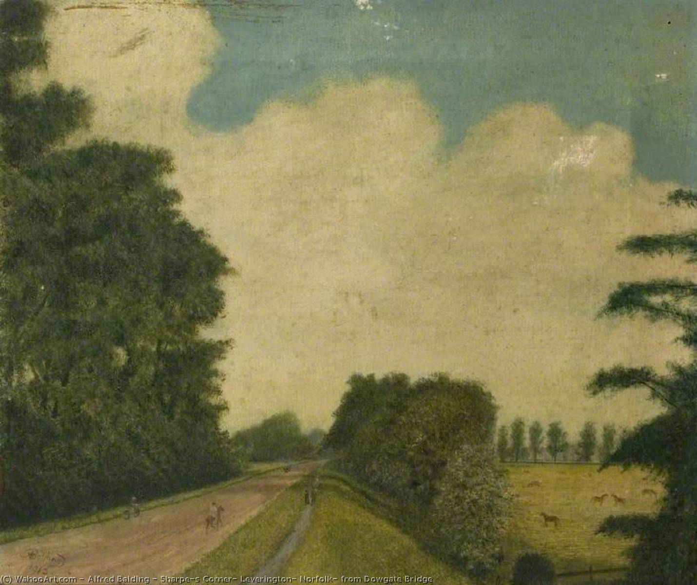 Sharpe`s Corner, Leverington, Norfolk, from Dowgate Bridge, 1912 by Alfred Balding | Museum Quality Reproductions | WahooArt.com