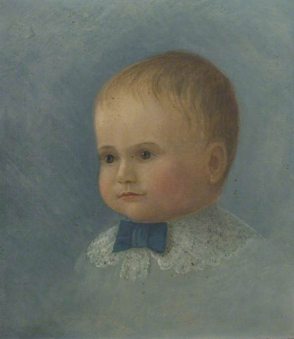 Portrait of a Child with a Lace Collar by Alfred Balding | Paintings Reproductions Alfred Balding | WahooArt.com