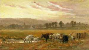 Alfred Fitzwalter Grace - Sunset Near Amberley, West Sussex