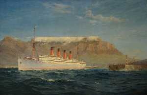Maurice Randall - The Union Castle Steamship 'Arundel Castle' in Table Bay
