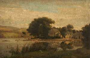 James Hey Davies - Landscape with a Lake and Houses