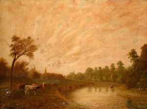 Alfred John Harris - View of Runnymede, Surrey from Towpath with Windsor Castle in the Distance