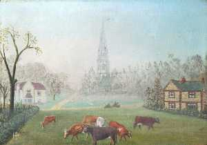 Alfred John Harris - Ranmore Common, Dorking, Surrey, with Post Office and Dispensary