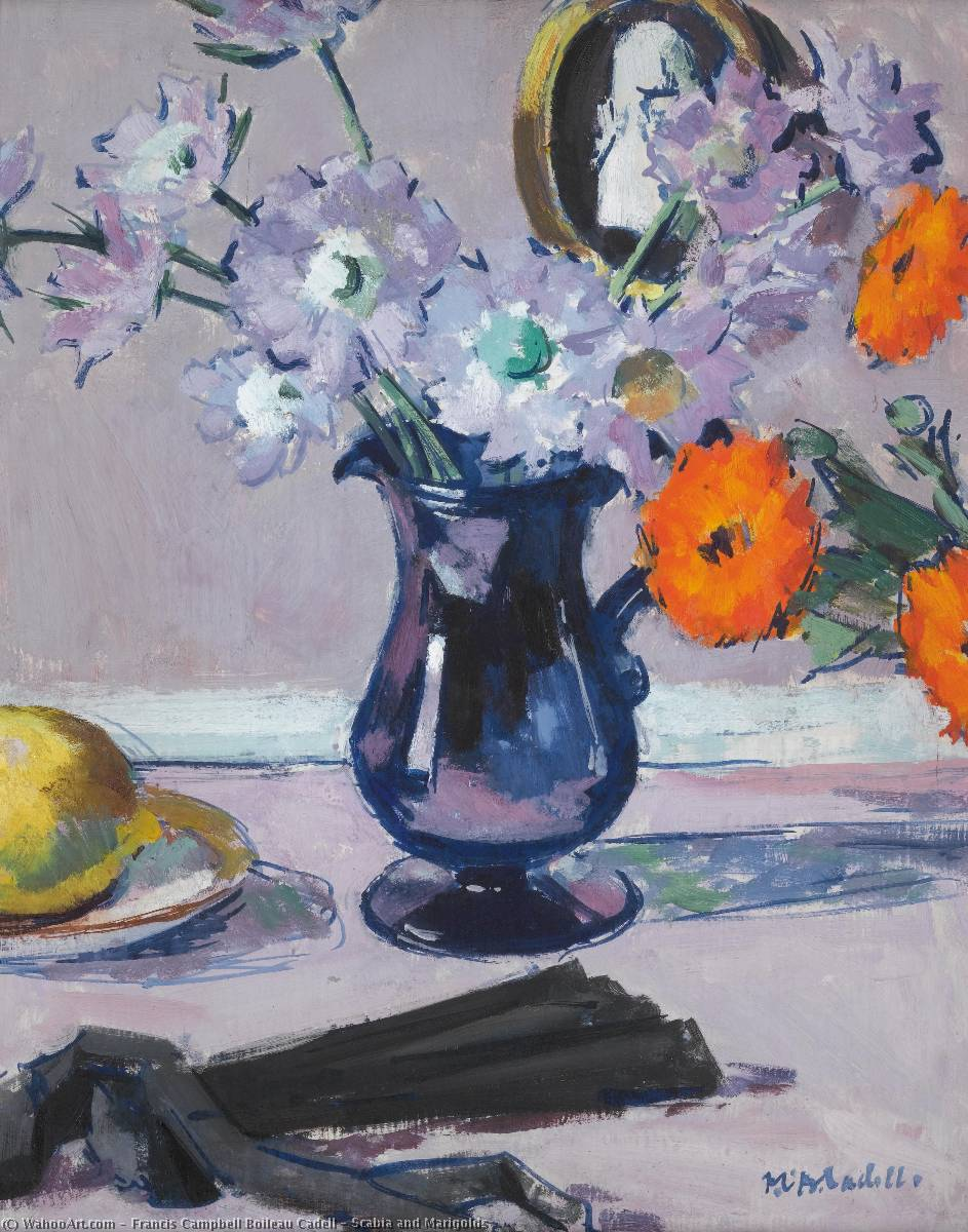 Scabia and Marigolds by Francis Campbell Boileau Cadell (1883-1937) | Oil Painting | WahooArt.com