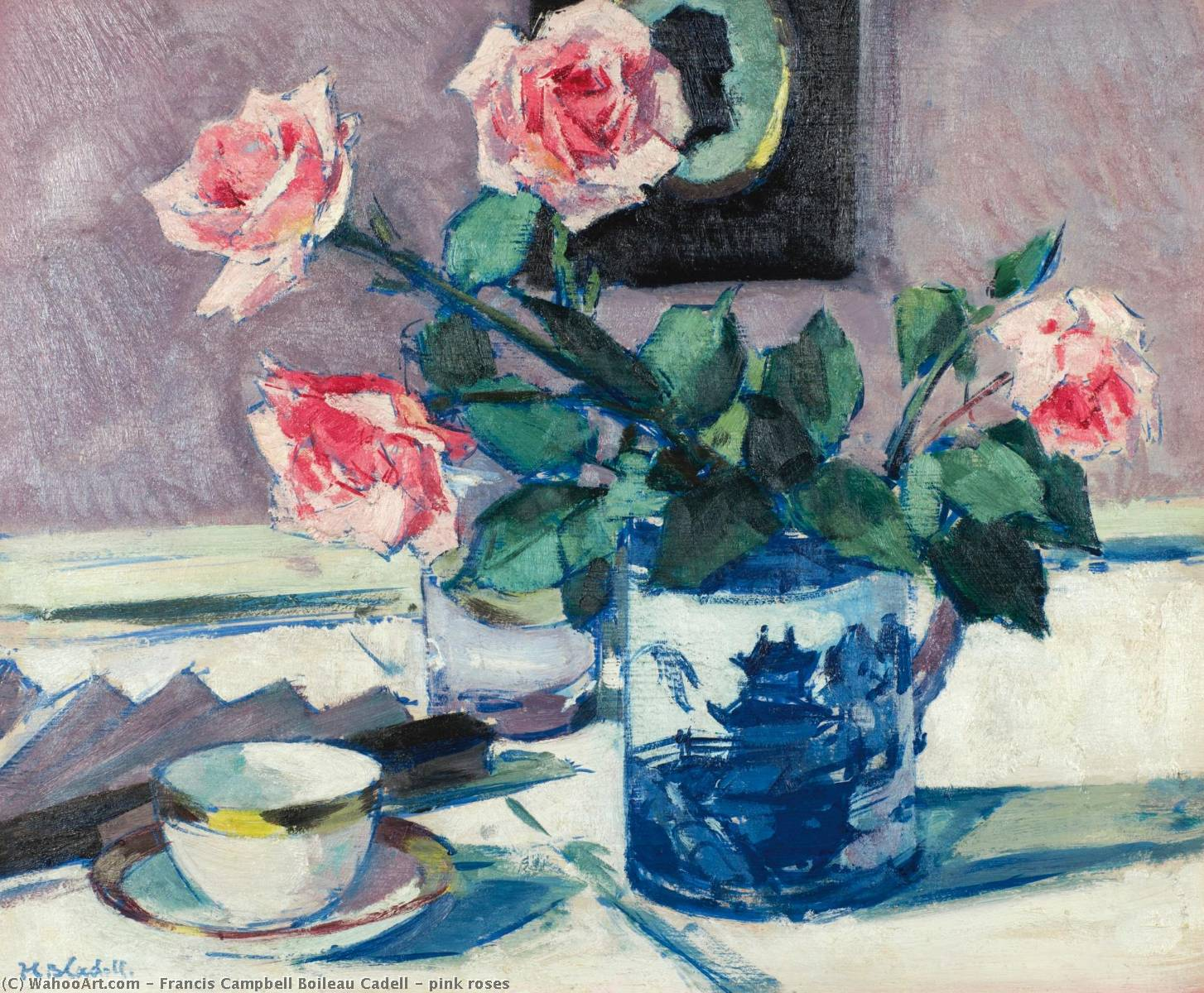 pink roses, Oil by Francis Campbell Boileau Cadell (1883-1937)