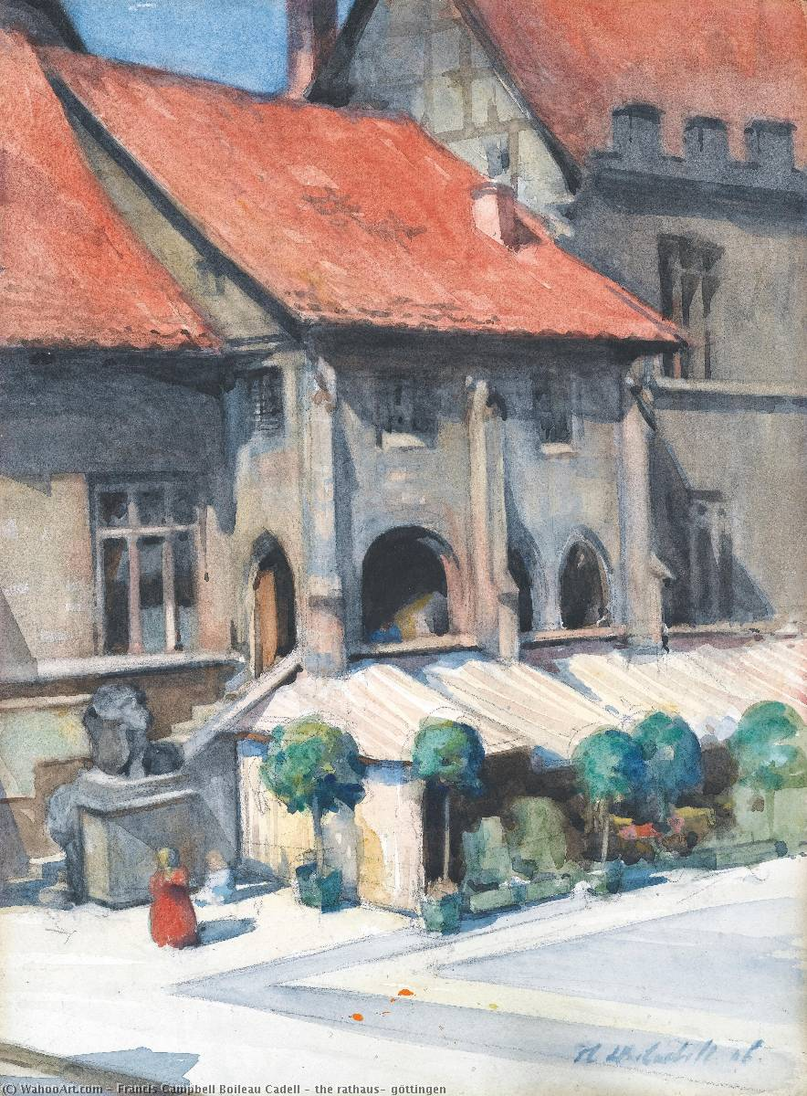 the rathaus, göttingen by Francis Campbell Boileau Cadell (1883-1937) | Oil Painting | WahooArt.com