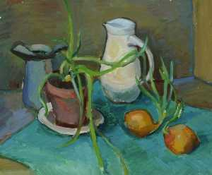 Arthur Goodwin - Still Life, White Jug and Onions