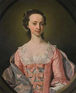 Henry Pickering - Portrait of a lady, half length, in a pink dress