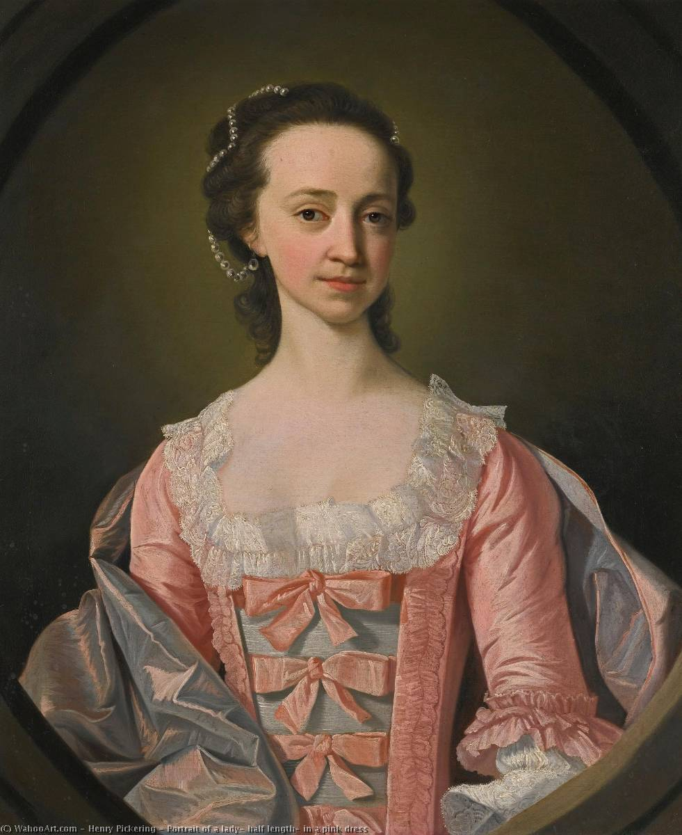 Order Art Reproductions | Portrait of a lady, half length, in a pink dress by Henry Pickering | WahooArt.com