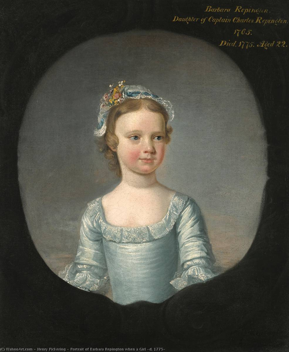 Portrait of Barbara Repington when a Girl (d. 1775), Oil On Canvas by Henry Pickering