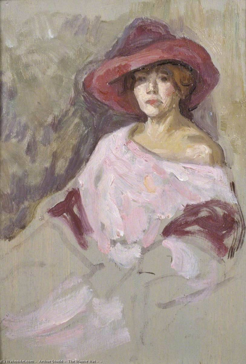 The Mauve Hat ( ), 1900 by Arthur Studd | Reproductions Arthur Studd | WahooArt.com