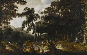 Jan Looten - A wooded landscape with travellers and huntsmen on a path