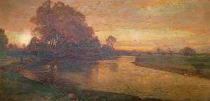 Harry Goodwin - View on the Thames, Evening, When Swallows Homeward Fly