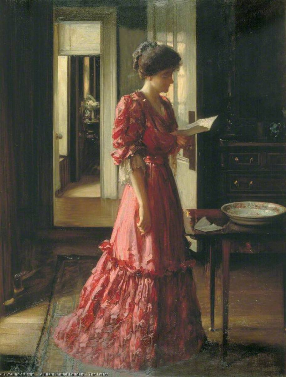The Letter, Oil On Canvas by William Mouat Loudan