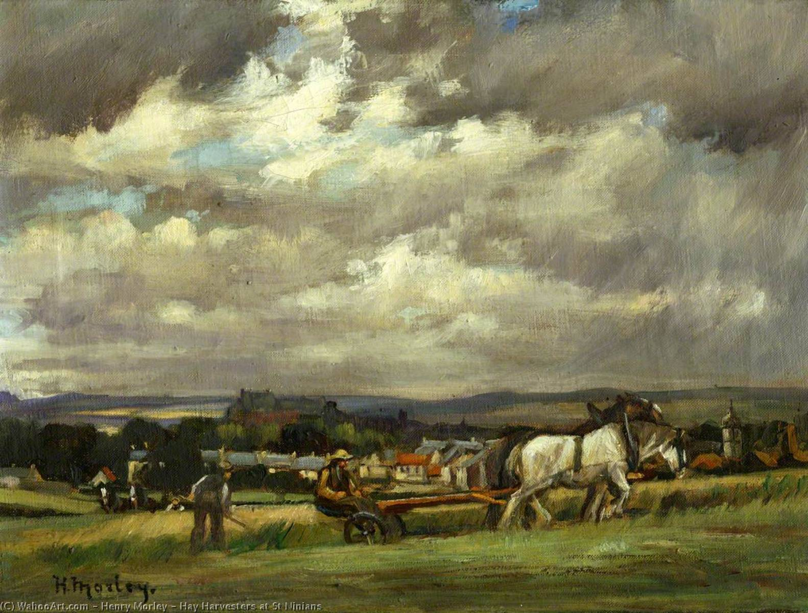 Hay Harvesters at St Ninians, Oil On Canvas by Henry Morley