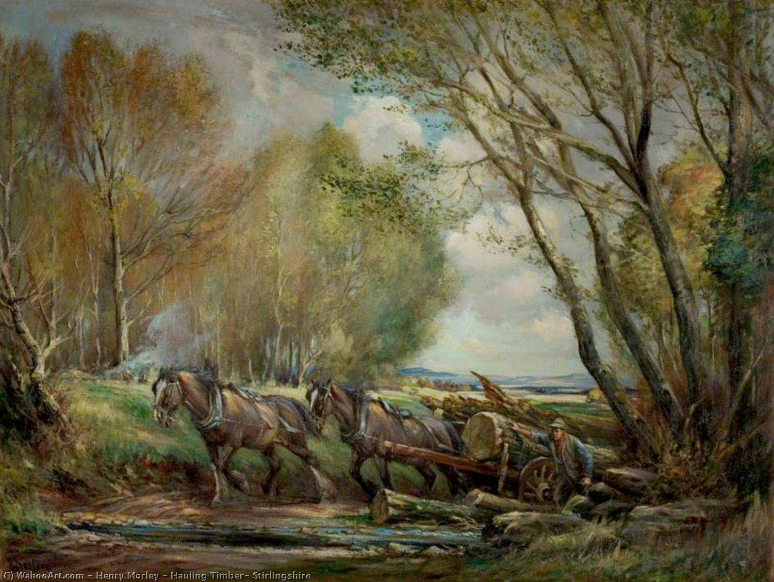 Hauling Timber, Stirlingshire, Oil On Canvas by Henry Morley