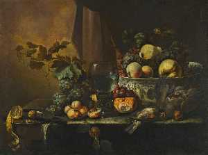Michiel Simons - Still life of fruits including peaches, grapes, a pear, and a lemon with assorted game arranged on a table ledge with a roemer and a porcelain bowl