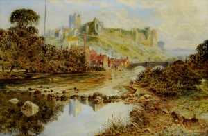 Henry A Smitheman - Richmond Castle, North Yorkshire from the Swale
